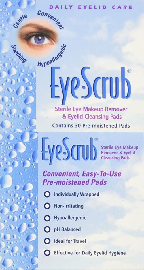 4 Pack - Eye Scrub Sterile Eye Makeup Remover - Eyelid Cleansing Pads 30 Each Celavi Makeup Remover Cleansing Wipes Removing Towelettes 1 Pack - 60 Sheets (Charcoal)