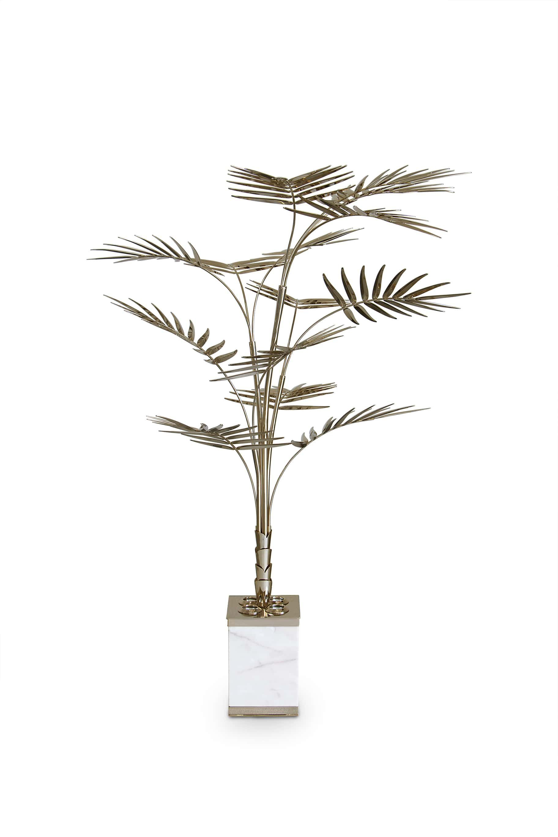 Ivete Is A Floor Lamp Shaped As Palm Tree Produced In Square Carrara Marble Base And Gold Plated Br Its Design Makes This Lighting Fixture The