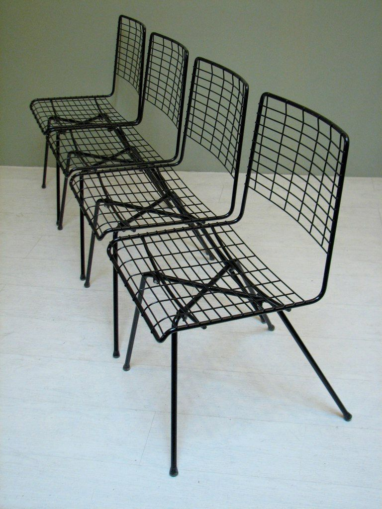"Mid Century Modern Outdoor Patio Furniture Set, ""Pacific Iron"" Chairs"