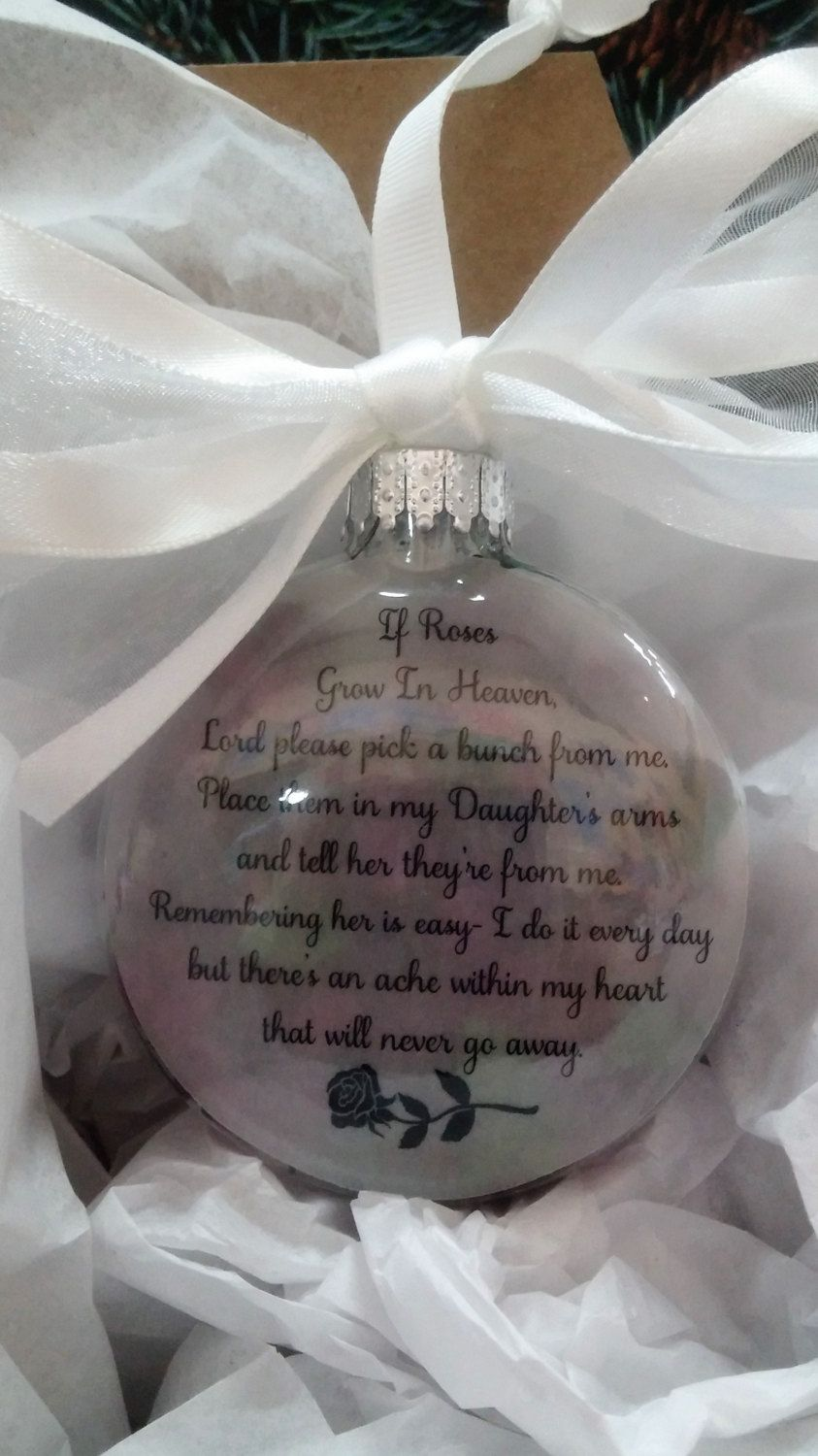 """Daughter Memorial Gift """"If Roses Grow In Heaven"""" In Memory of Child Personalized Christmas Ball - Sympathy Gift Remembrance Bauble Loss by ShopCreativeCanvas on Etsy"""