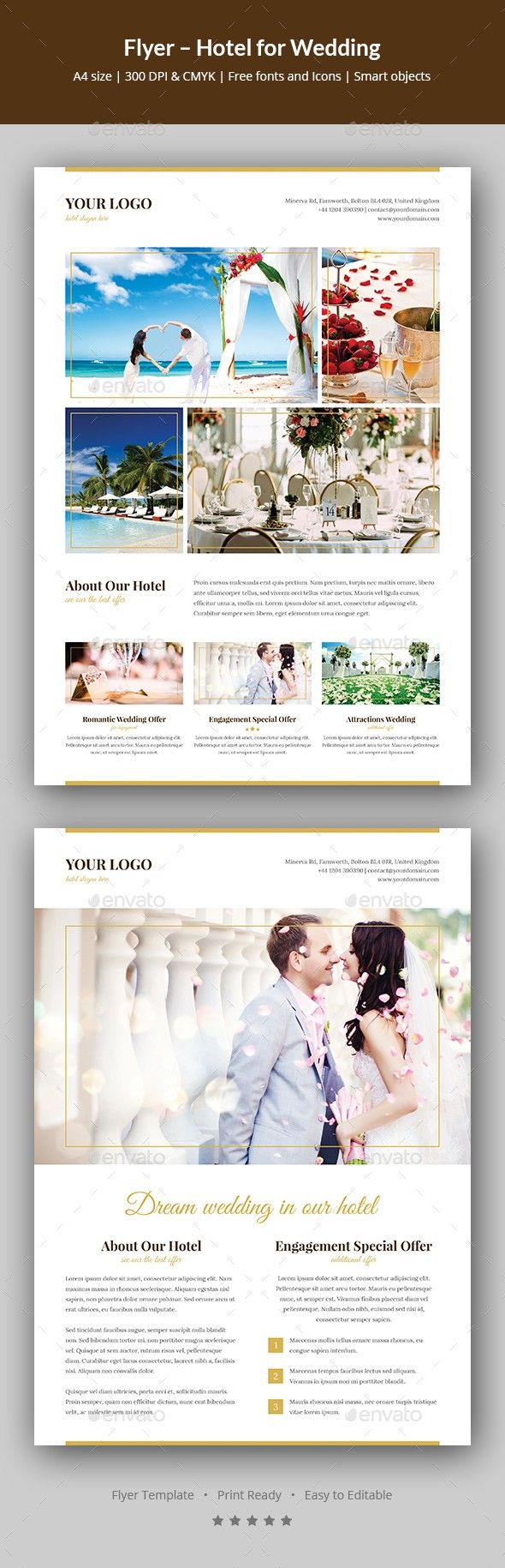 Flyer Outline Gorgeous Flyer  Hotel For Wedding  Flyer Template And Template