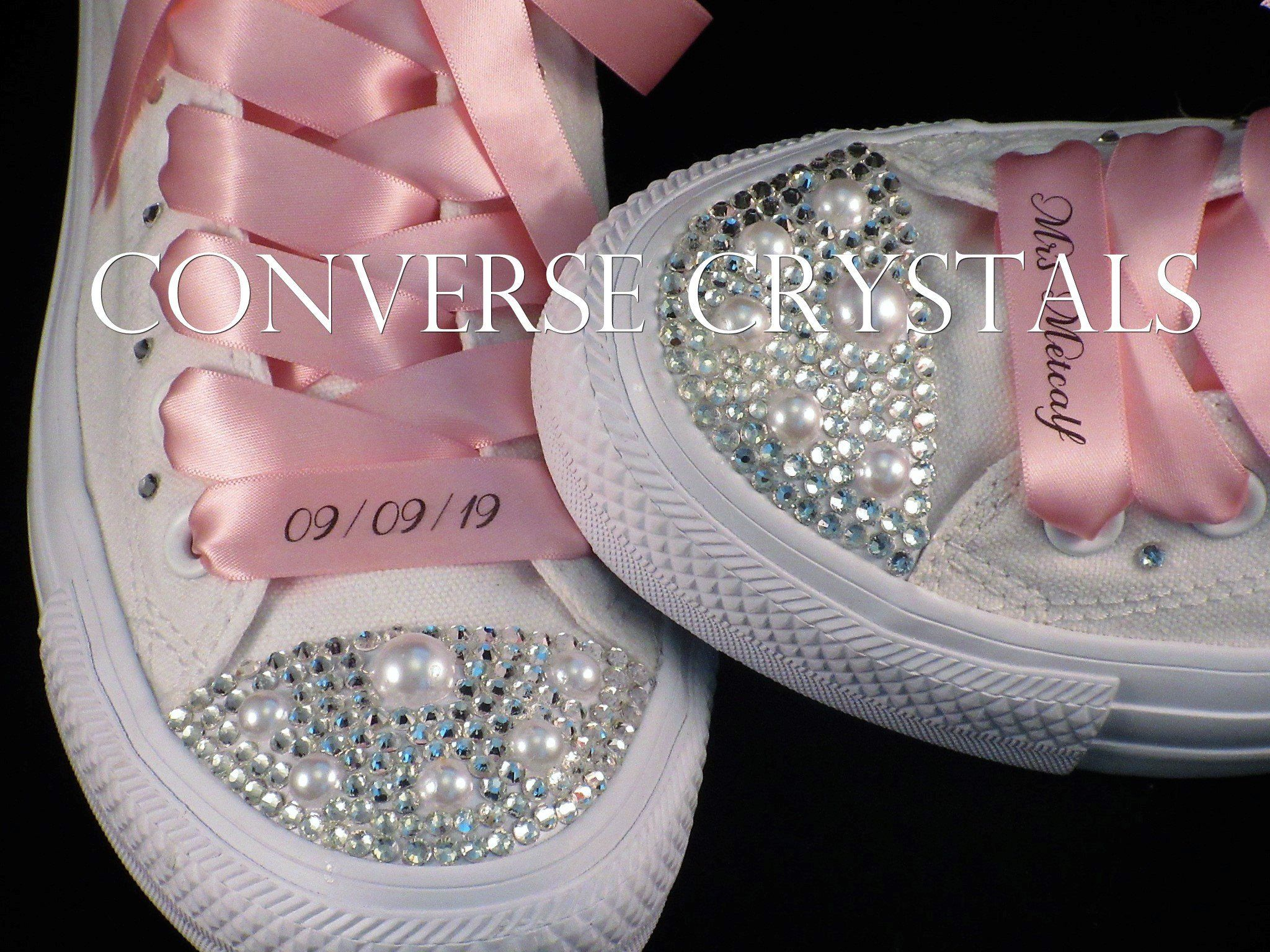 473cb8b79aad Personalised Name And Date Wedding Bridal Converse - Any Colour Ribbon And  Pearls-All sizes incl Half Sizes. by ConverseCrystals on Etsy