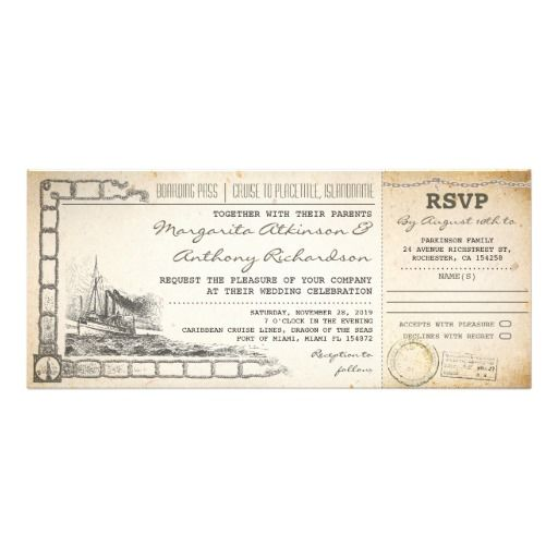 Boarding Pass Cruise Wedding Invites With Rsvp Cruise Wedding - How much is a cruise ship ticket