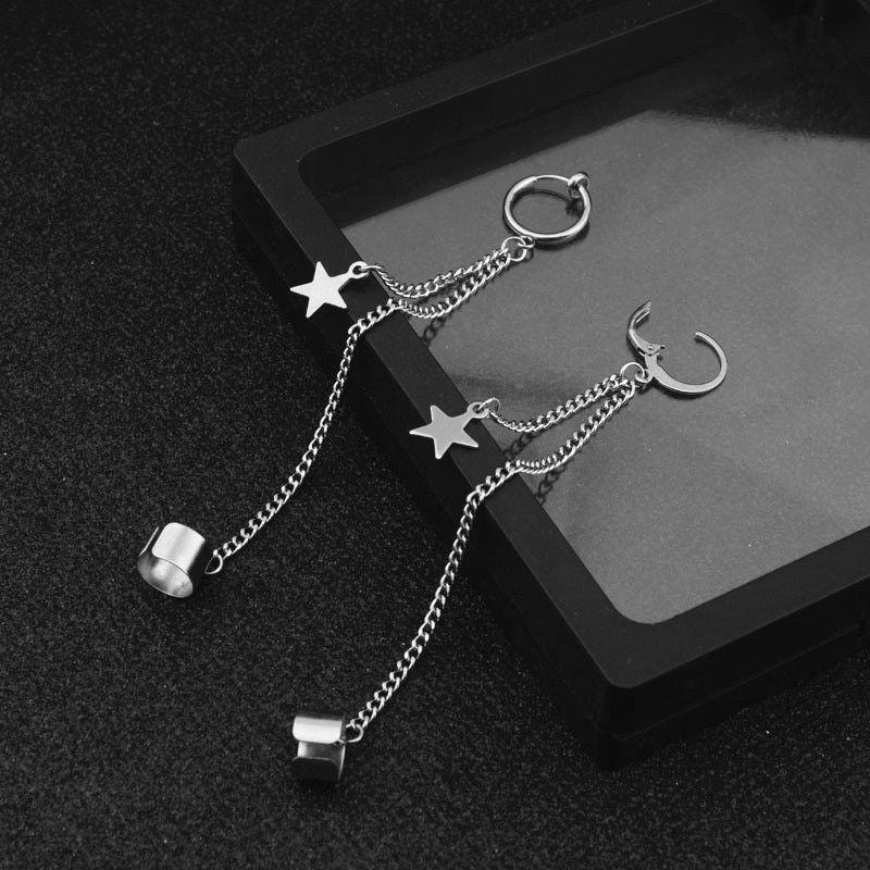 Jewelry 1 PCS KPOP Bangtan Boys Album JIMIN Star Stud Earrings Stainless Double Pierced Earrings Star Moon Jewelry Metal Color 1