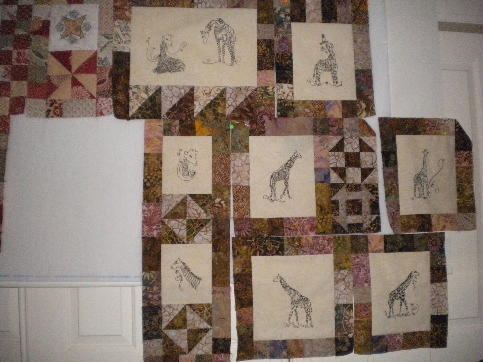 giraffe quilt | did 3 more blocks for my Giraffe Quilt. Don't know how it goes ...