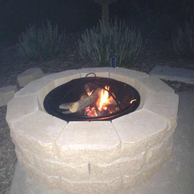 DIY Fire Pit!  30 Retaining Wall Bricks And Interior Metal Tray From Home  Depot.  Stack Blocks Into Alternating Rows Of 10.  Insert Metal Tray And  Enjoy ...