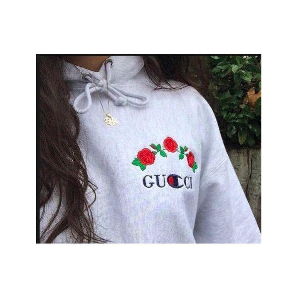 4cf477b36 Gucci x Champion Logo Tumblr Luxury Parody Sweatshirt ($47) ❤ liked on  Polyvore featuring tops, hoodies, sweatshirts, grey sweatshirt, gucci  sweatshirt, ...