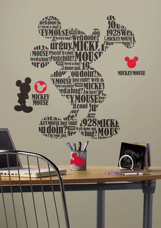 Mickey & Friends - Typography Mickey Mouse Peel & Stick Giant Wall ...