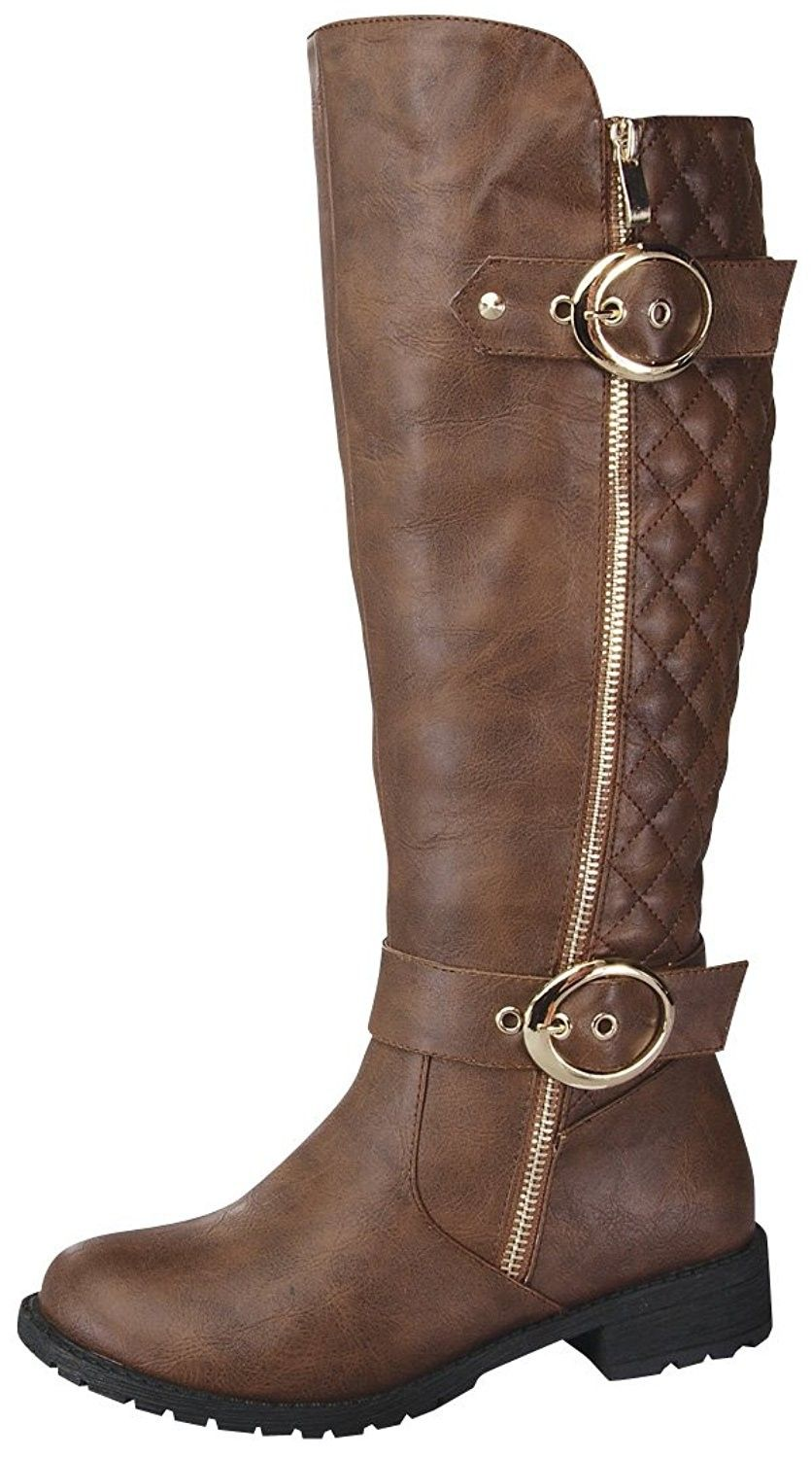 Women S Paper 33 Knee High Quilted Leather Buckle Zip Riding Boot Brown Cf1250i6tdz Boots Riding Boots Brown Boots