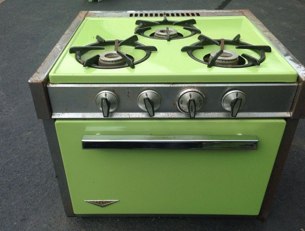 Lime Green Vintage 3 Burner Gas Propane Range Stove Oven Rv Camper