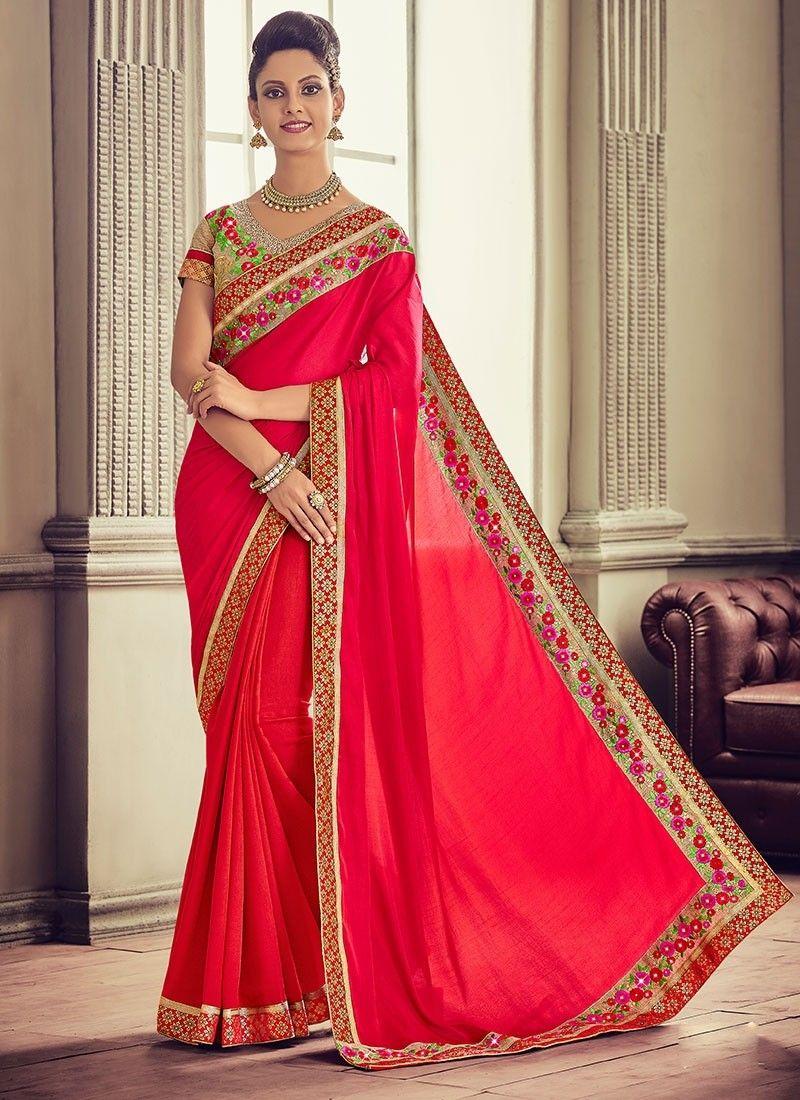3650732ee68 Red Silk  DesignerSaree With Embroidered