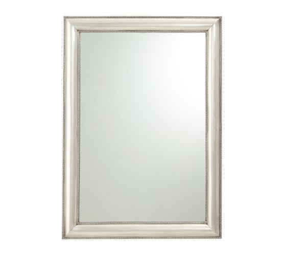 Silver beaded mirror pottery barn 339 30x42 two one over each sink in the master for Silver framed bathroom mirrors