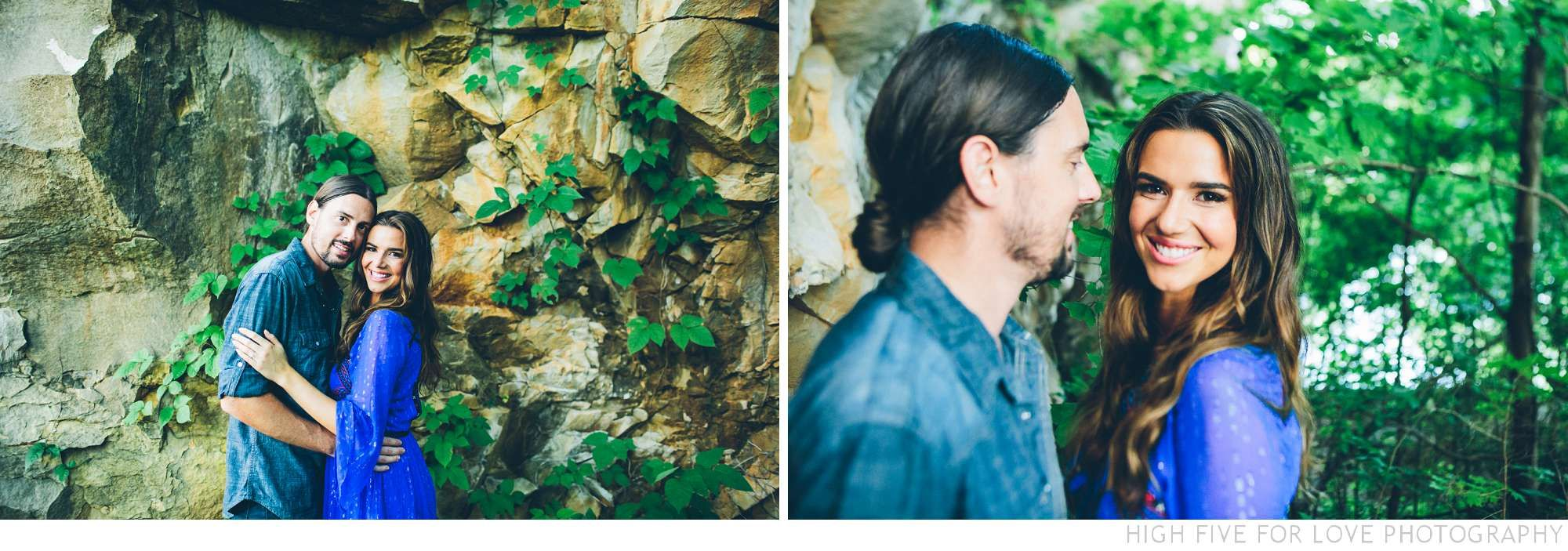 High Five For Love | Non-Traditional Wedding Photographers | Holly + Mike | Bohemian Rock Quarry Engagement Session