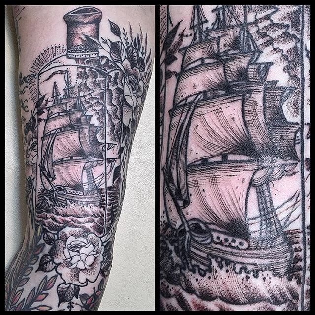ship tattoo by a_light_so_dim