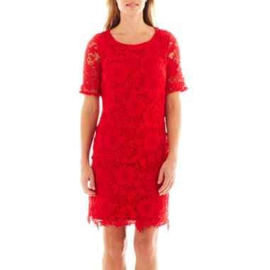 2923a85bcda Trulli 3 4-Sleeve Crochet Lace Shift Dress found at  JCPenney ...