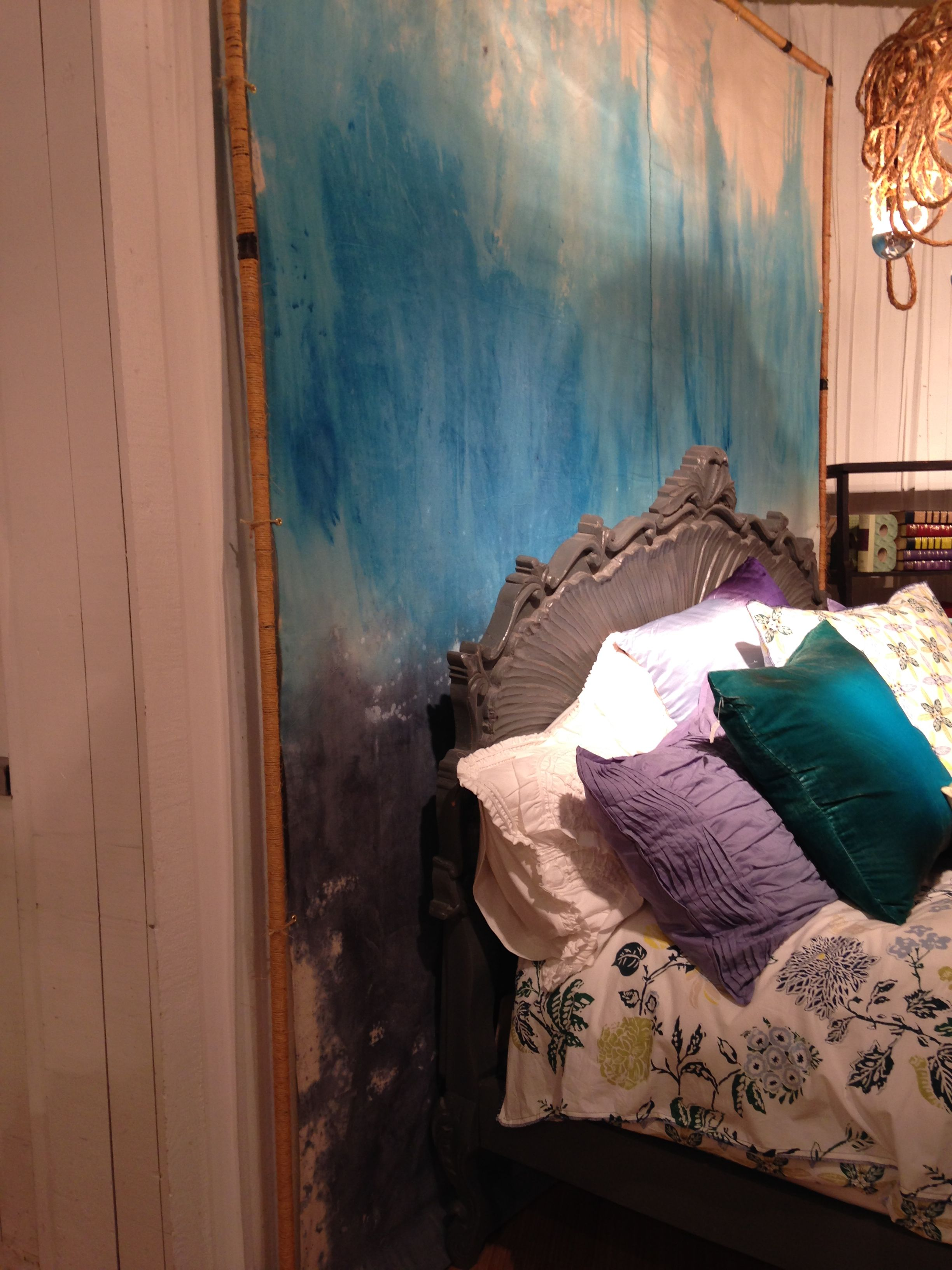 painted canvas drop cloth in hues of turquoise, temporary