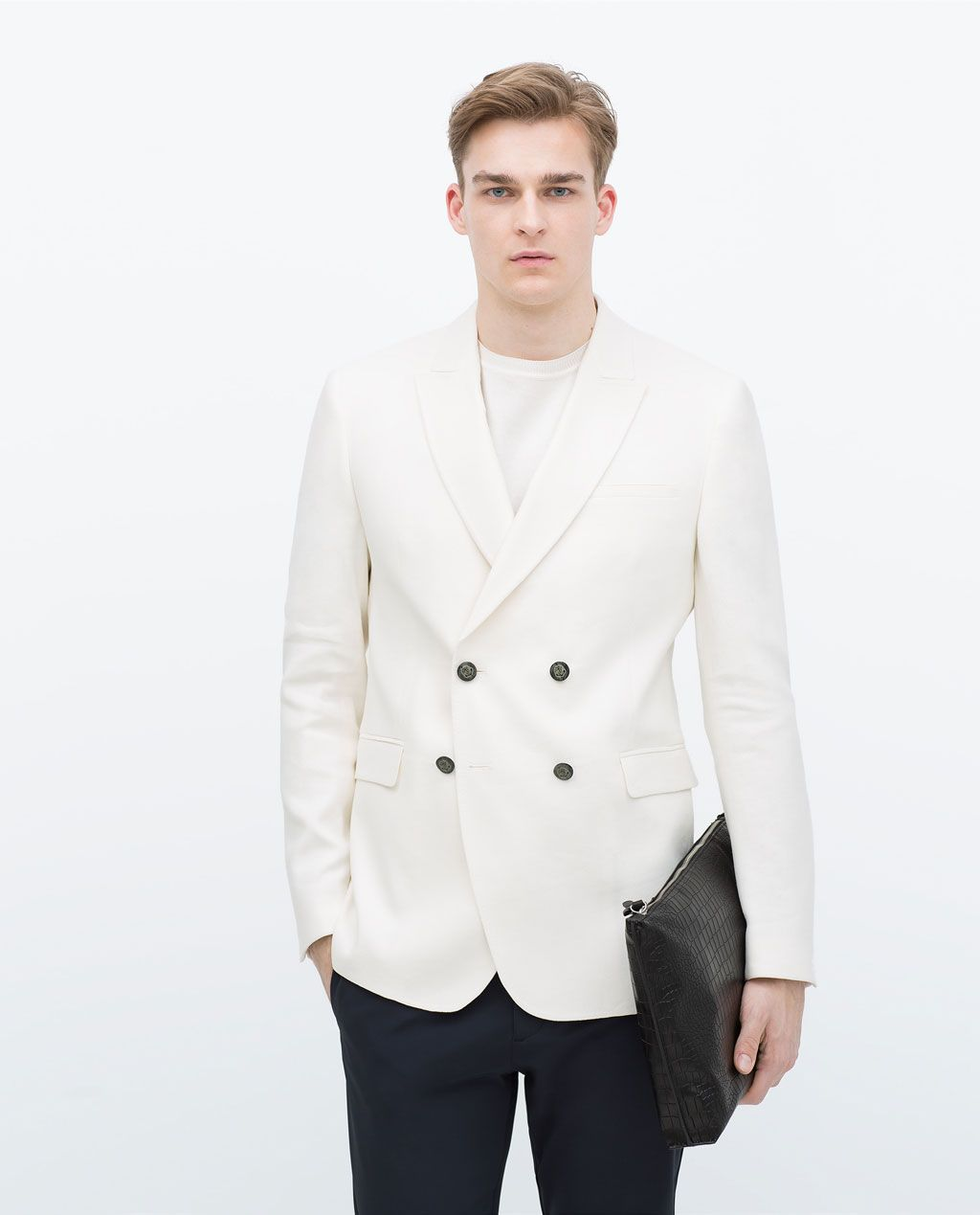 0dbd078f ZARA - MAN - White double-breasted jacket | Do want | Moda masculina ...