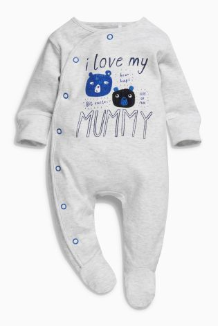 529369217 Buy Blue/Ecru Mummy And Daddy Character Sleepsuits Two Pack (0mths-2yrs)  from the Next UK online shop