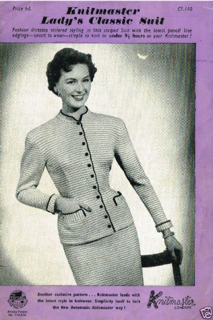 1960's VINTAGE MACHINE PATTERN: KNITMASTER LADY'S CLASSIC SUIT