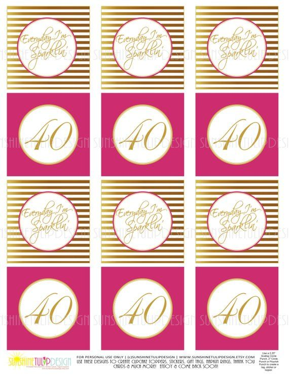 40th Birthday Gold And Hot Pink Printable Cupcake Toppers Sticker Labels Gift Tags By SUNSHINET