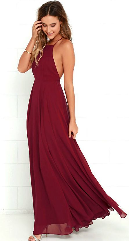 Wine Colored Maxi Dress Burgundy Bridesmaid Wedding Hair Guest