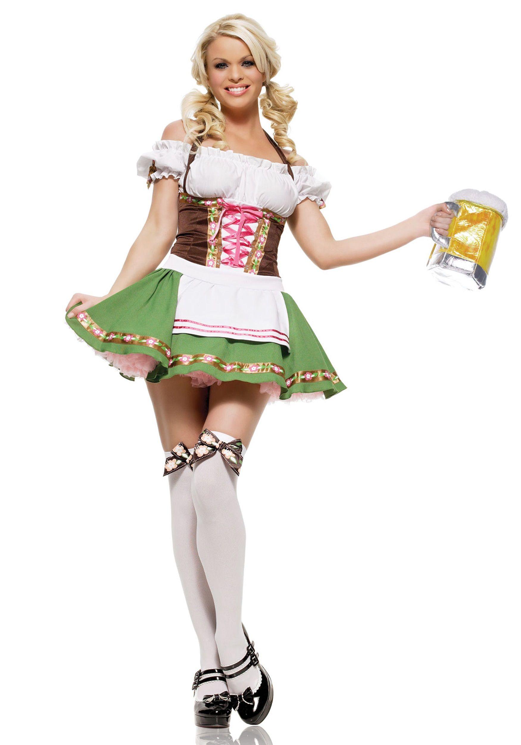 Our playful Oktoberfest Dirndl Dress features a short black/white polka dot  skirt edged in