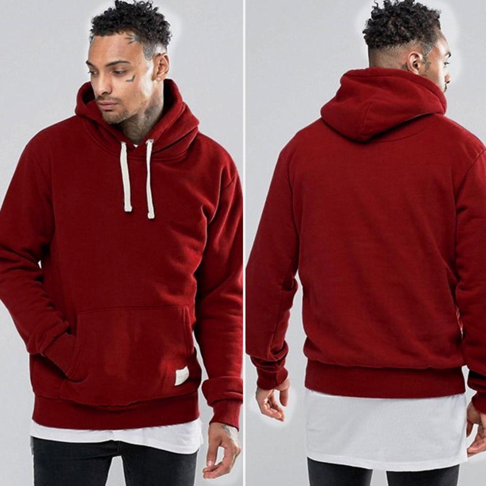 Pocket cat Black Hoodie Sweatshirt for Men Casual Fleece Warm Pullover