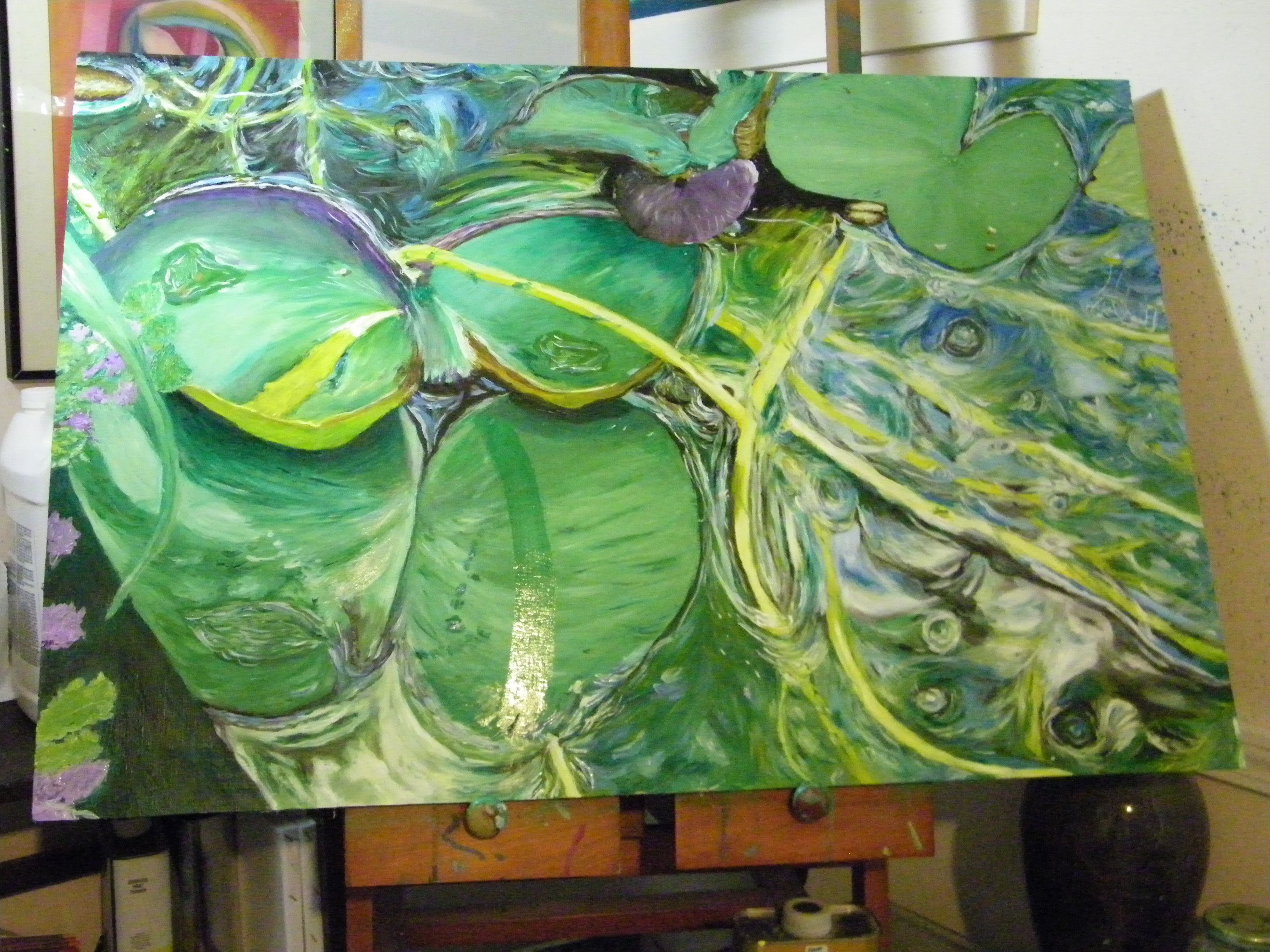 """24"""" X 36"""", Water and WaterLily, Oil on Panel, $1500 OBO"""