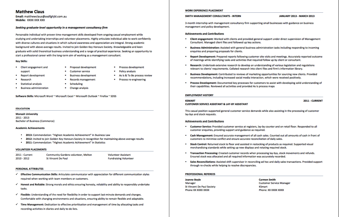 Customer Service Assistant Resume Format