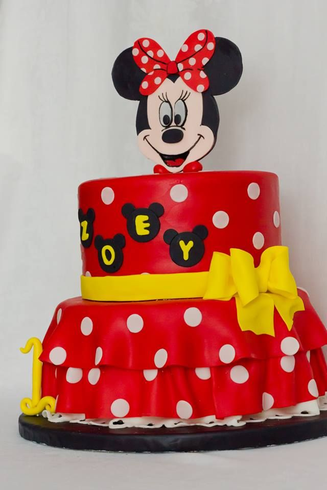 Minnie Mouse Birthday Cake Red with white polka dots yellow ribbon