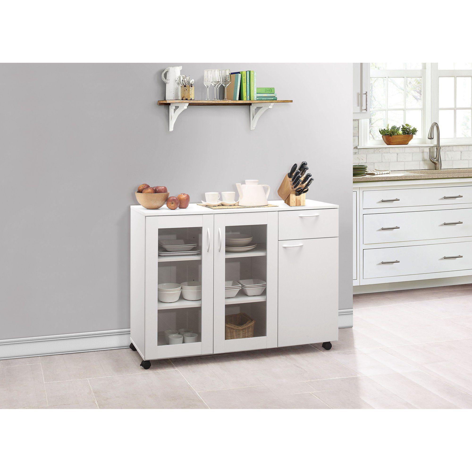 Gremlin Wheeled Kitchen Storage Sideboard Buffet Cabinet White Wood Walmart Com In 2021 Kitchen Furniture Storage Sideboard Storage Kitchen Cabinet Storage