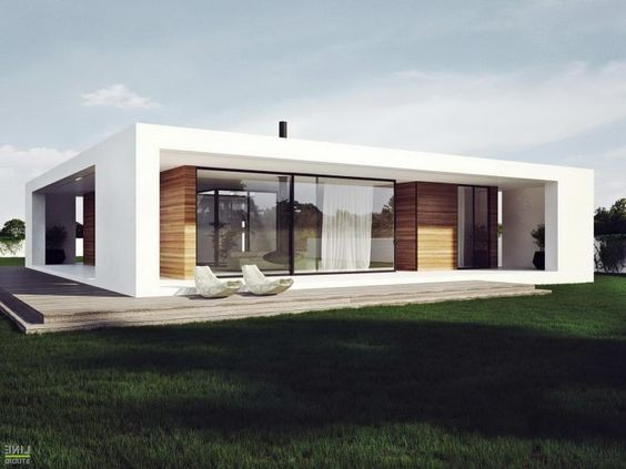 Wonderful Modern Plan Of Single Storey House In Stylish Design With White Facade And  Wooden Deck Decoration