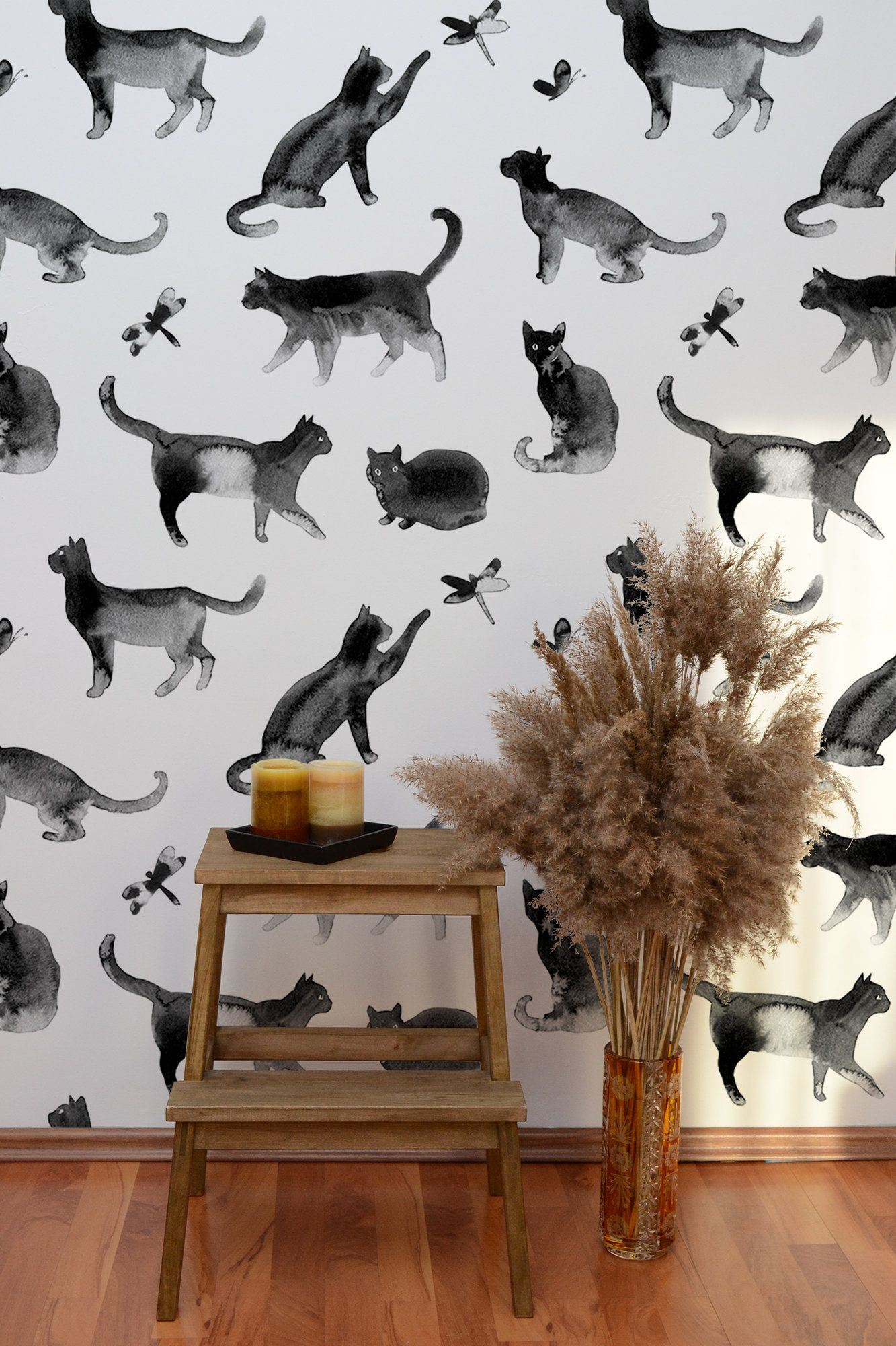 Cat Watercolor Wallpaper Peel And Stick Wall Mural Removable Etsy Watercolor Wallpaper Wallpaper Black And White Wallpaper