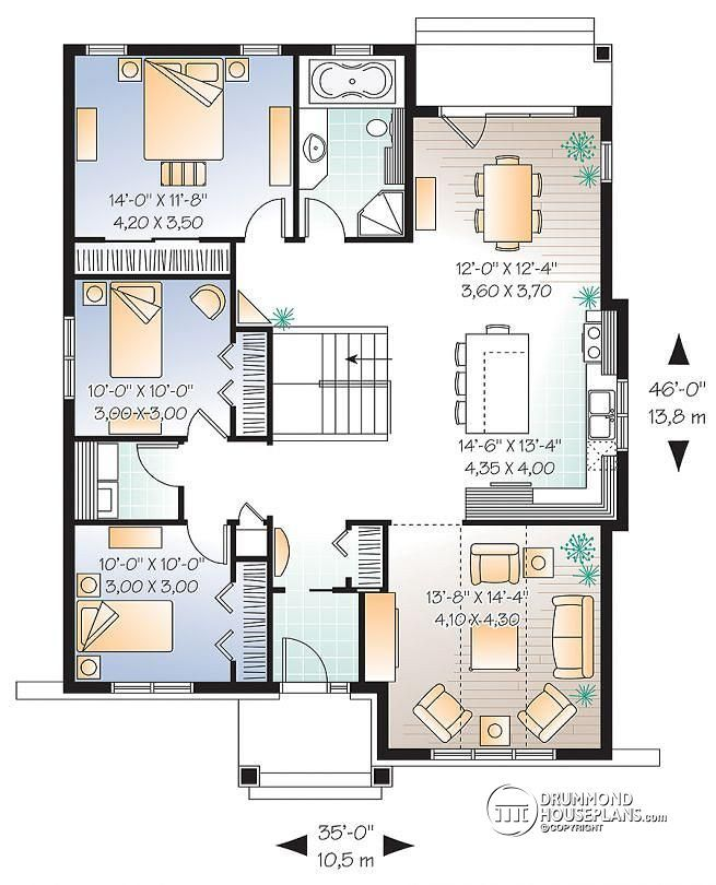 1st Level Small Cape Cod Home Plan, 3 Bedrooms, Great