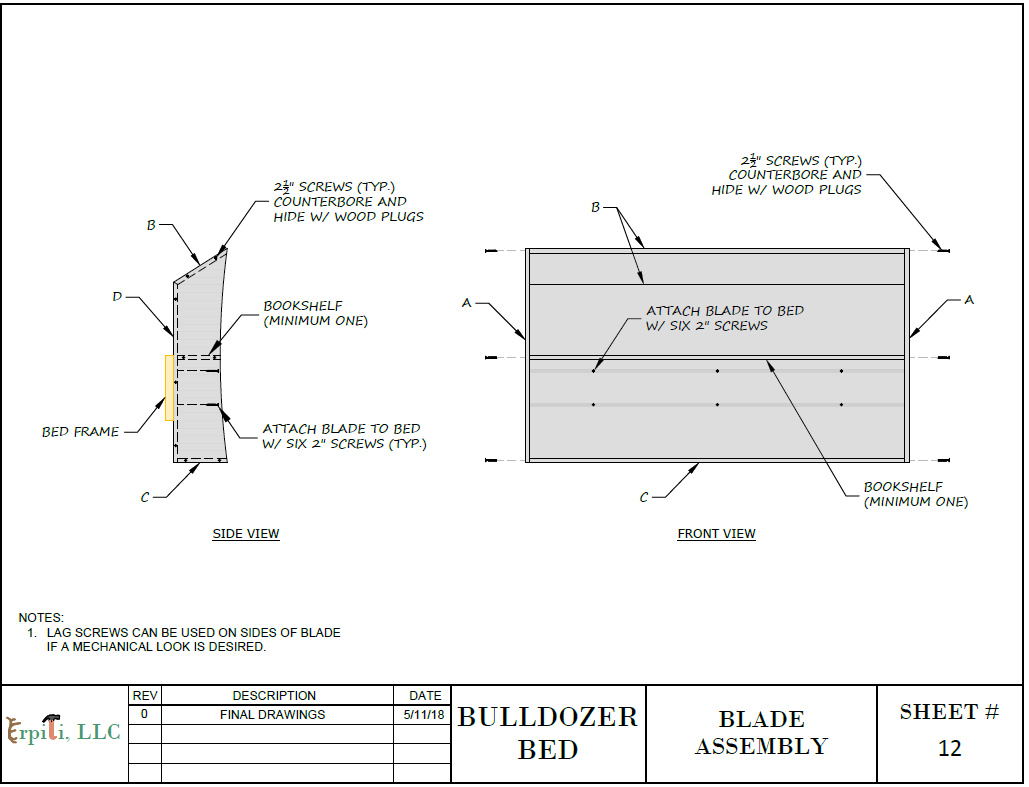 Bulldozer Bed PLANS (pdf format), Create a Construction Themed ...