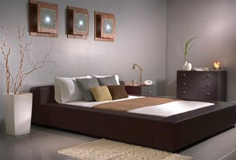 modern-minimalist-leather-bedroom  I would eliminate the plant. bachelor pad style