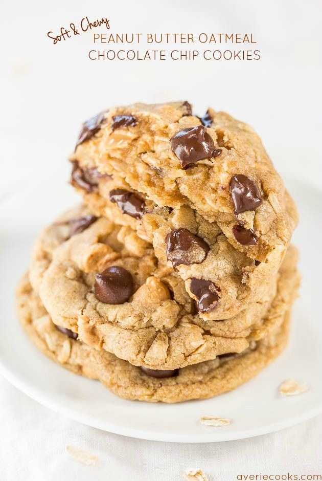 Soft And Chewy Peanut Butter Oatmeal Chocolate Chip