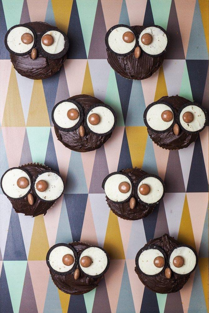 Eulen Muffins Mit Oreos Eulenmuffins Muffins Kindergeburtstag