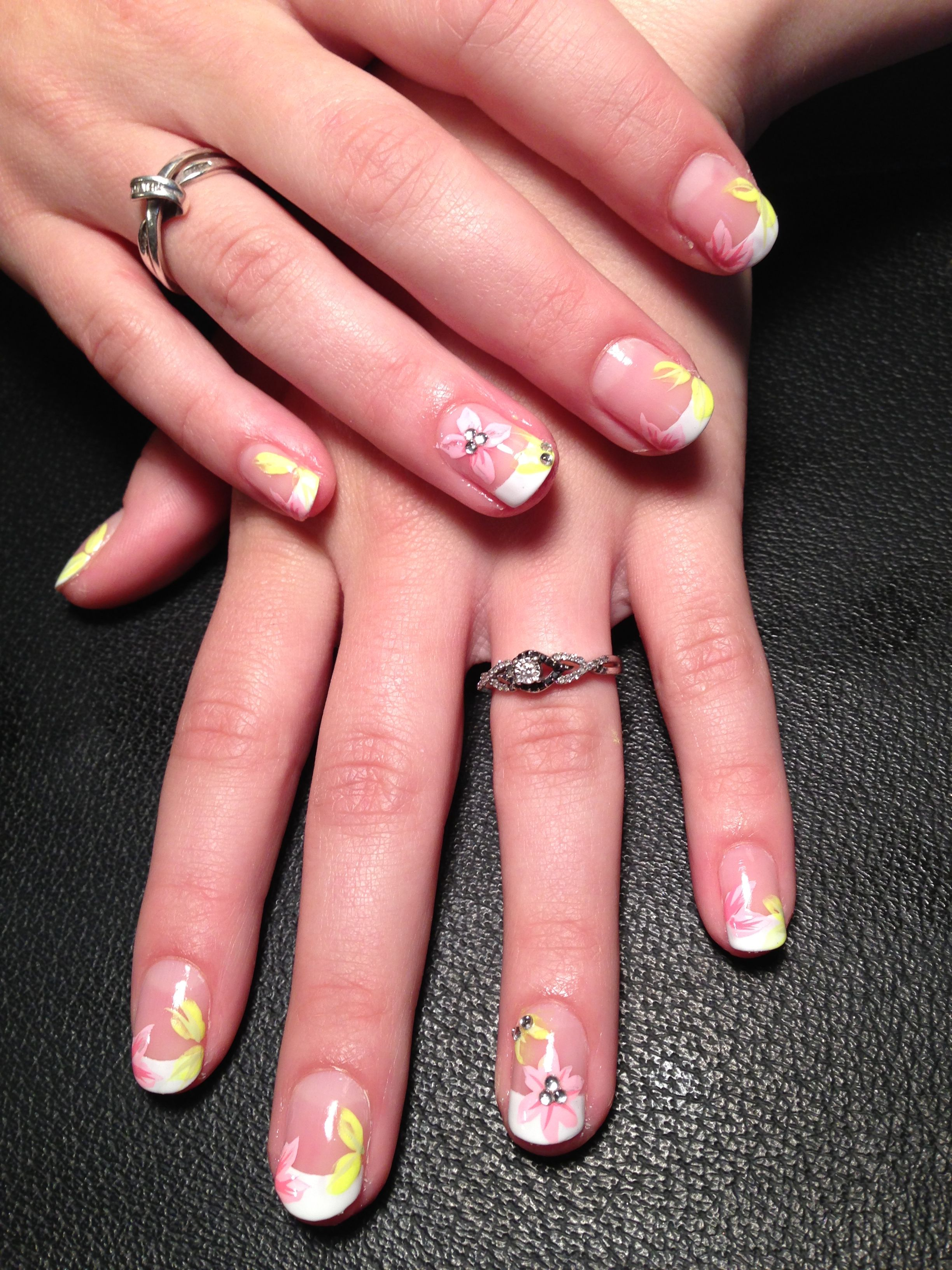 French manicure with hand painted flower nail art design | nail art ...