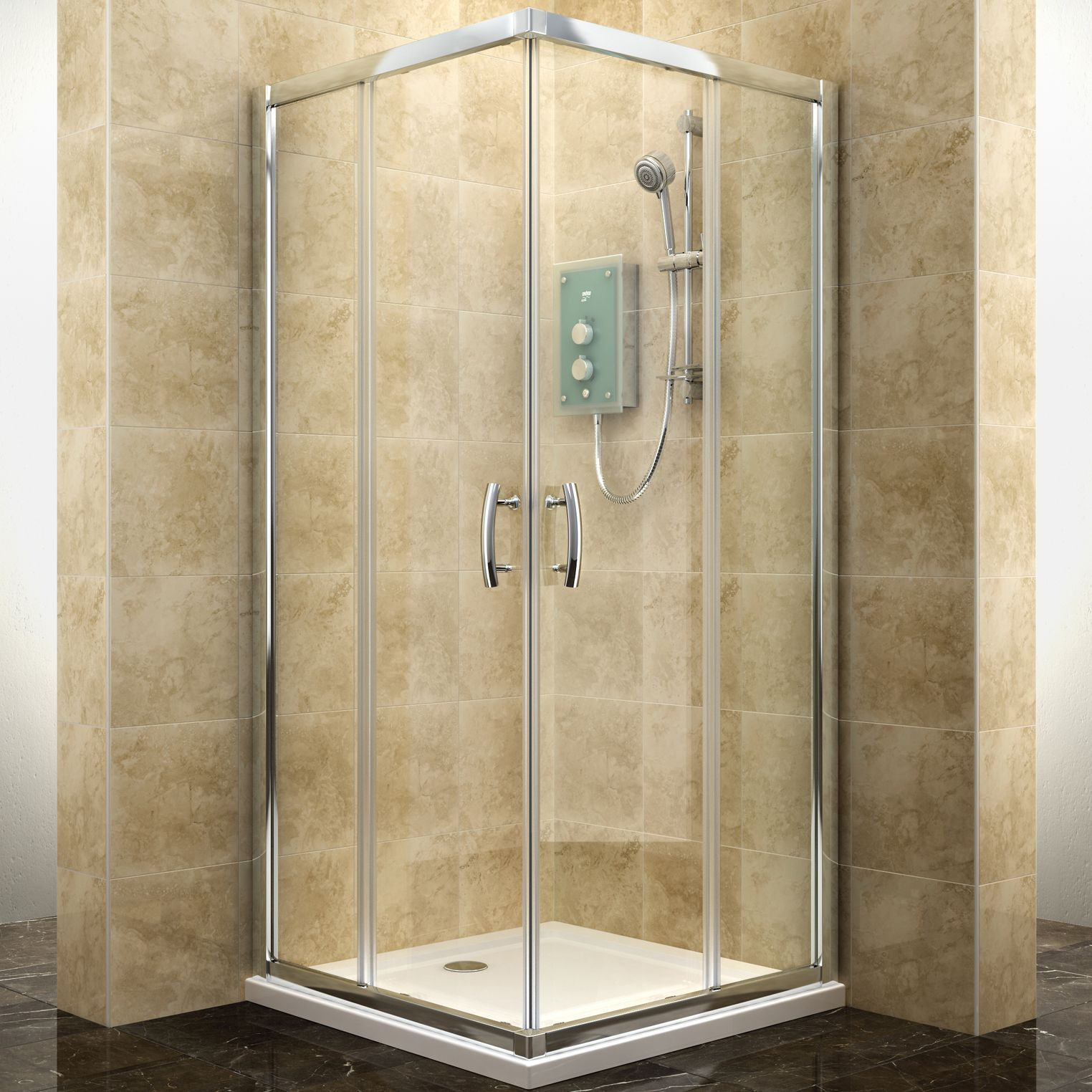 Cooke Lewis Deluvio Square Shower Enclosure Tray W 800mm D 800mm Departments Diy At B Q Square Shower Enclosures Shower Enclosure Shower Fittings