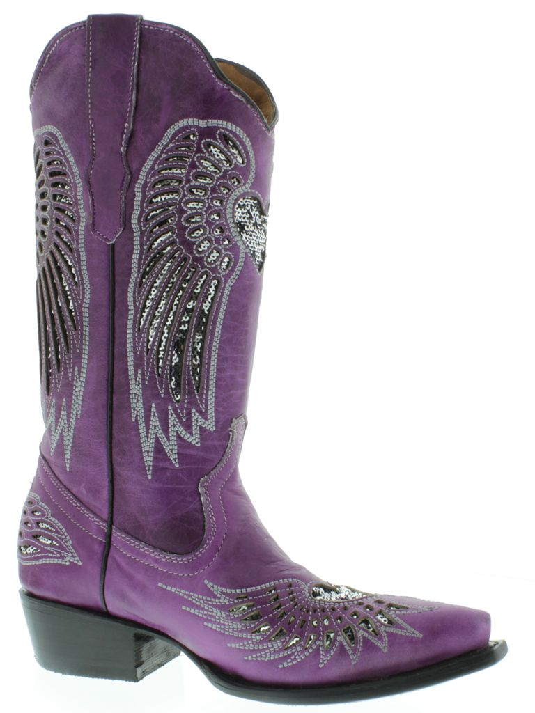 Details about Women's ladies purple leather cowboy boots sequins ...