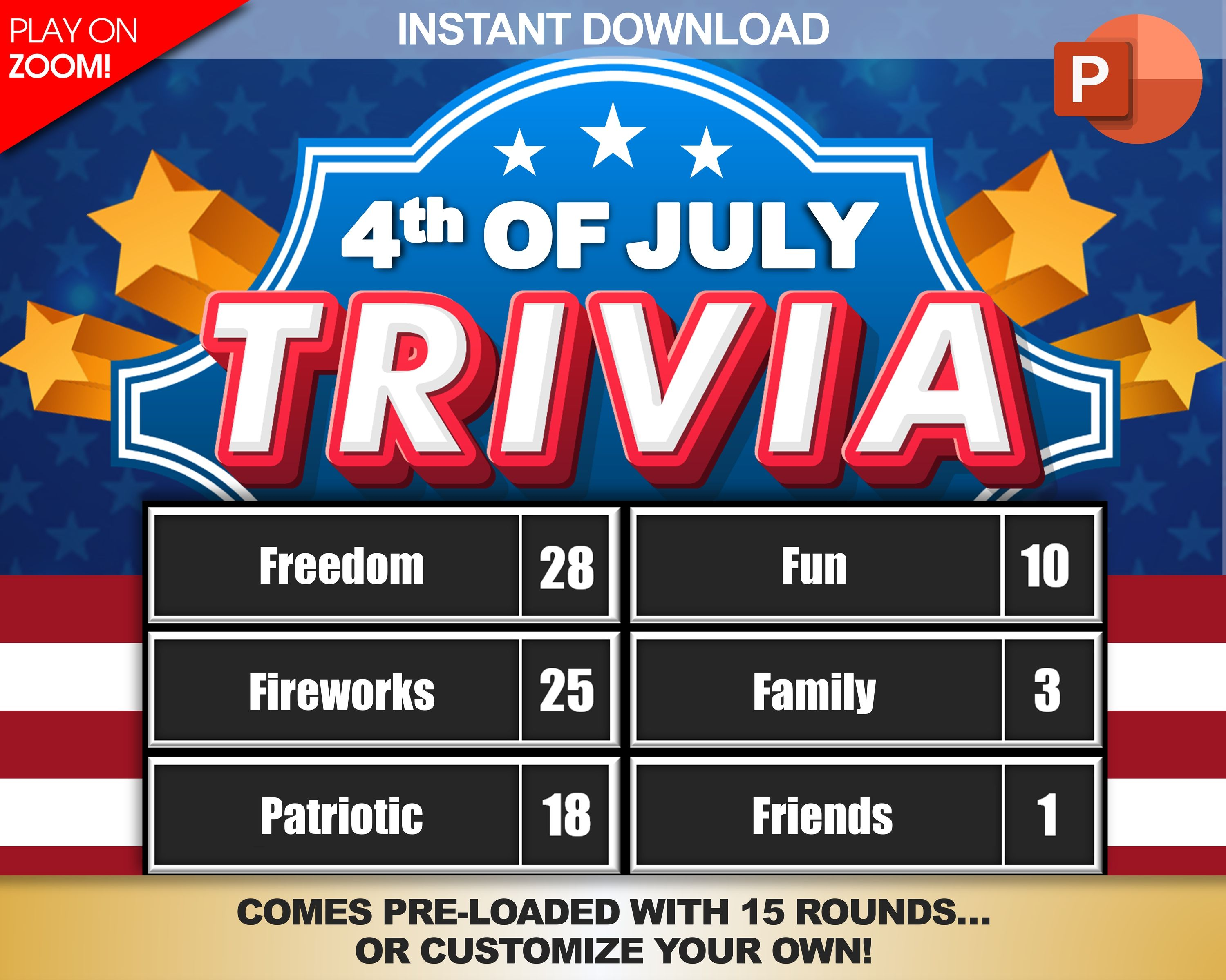 4th of July Trivia Party Game Download Play on Zoom PC