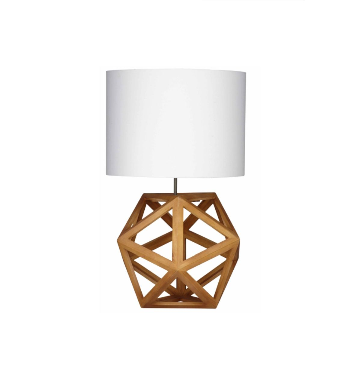 Hexagon table lamp natural timber with white shade scandinavian hexagon table lamp natural timber with white shade scandinavian style 21900 geotapseo Gallery