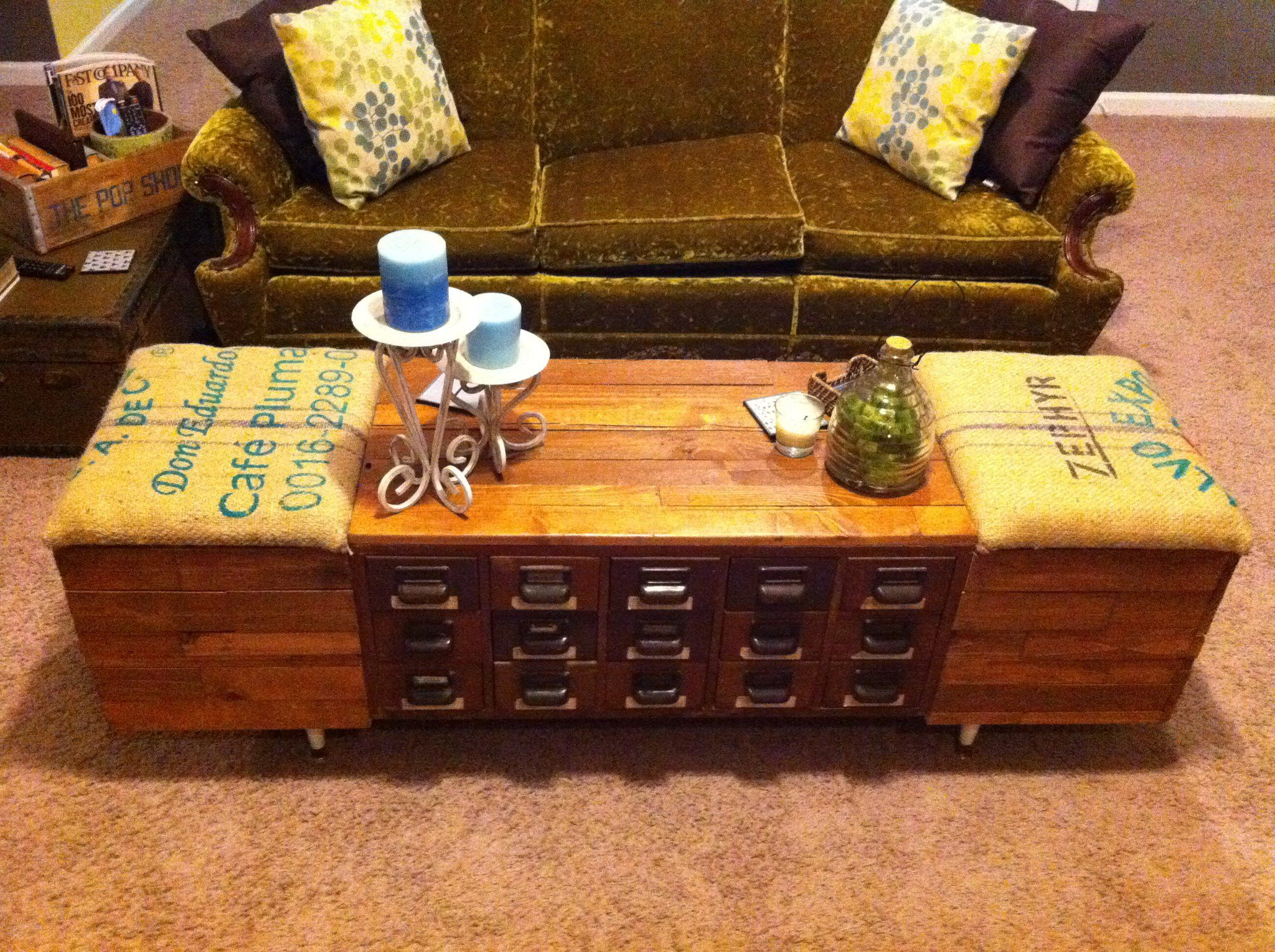 My Coffee Table Ottoman We Built From Reclaimed Wood Coffee