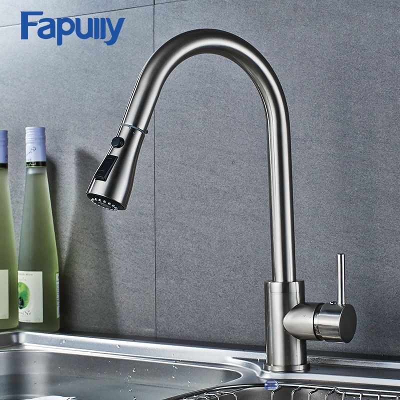 Fapully Brush Nickel Kitchen Sink Faucet Pull Out Staintell Steel