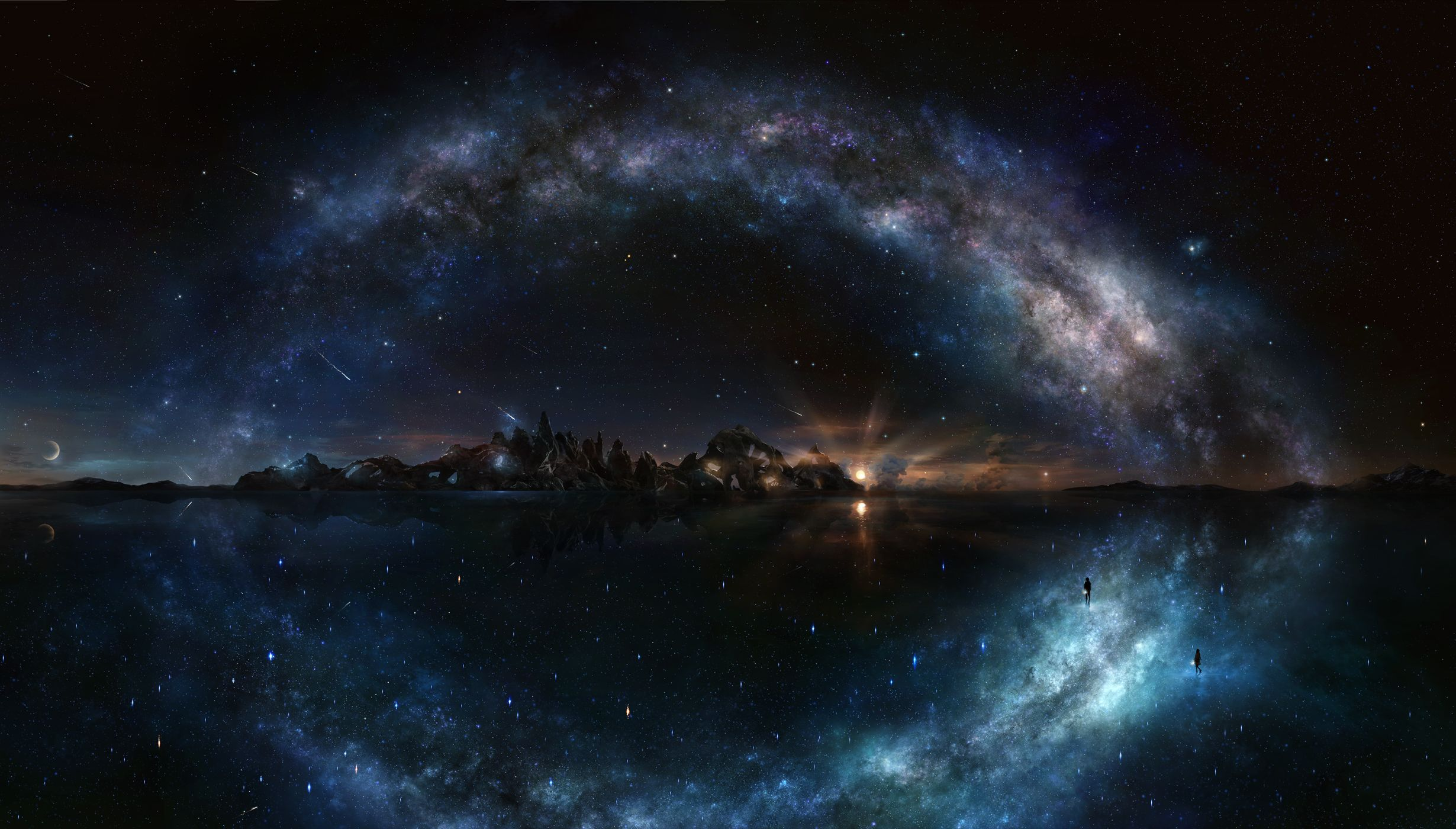 Milky Way Space Art Digital Art Fantasy Art Wallpaper No Night Sky Wallpaper Starry Night Wallpaper Background Images