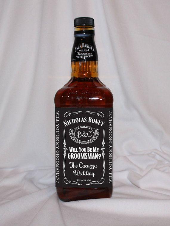 Will You Be My Groomsman Jack Daniels Bottle Label Personalized Proposal Sticker Custom