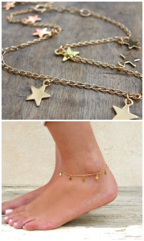 bracelet anklet charms foot jewelry ankle gold star delicate jewellery and dainty layering pin