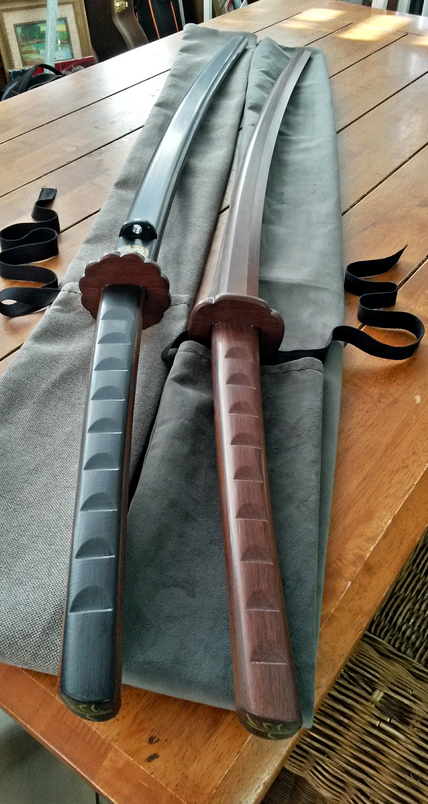 Two different styles of training bokken: an iaido bokken