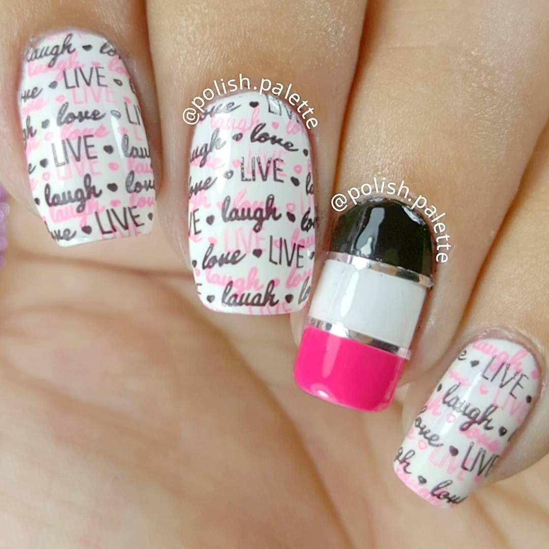 Double Stamping Mani Product Used: Nail Polish : White and Garden ...